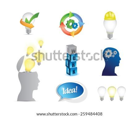 creative ideas. business ideas concept icon set illustration design over white - stock vector