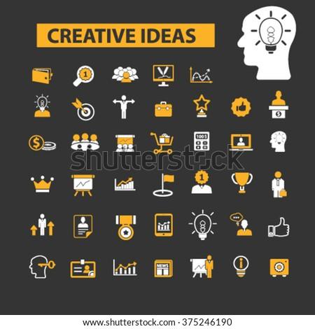 creative ideas, creativity, creative thinking, creative marketing icons  - stock vector
