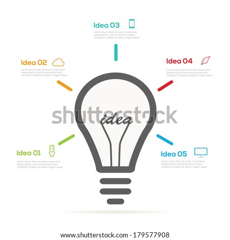 Creative Ideas design Infographic light bulb - stock vector