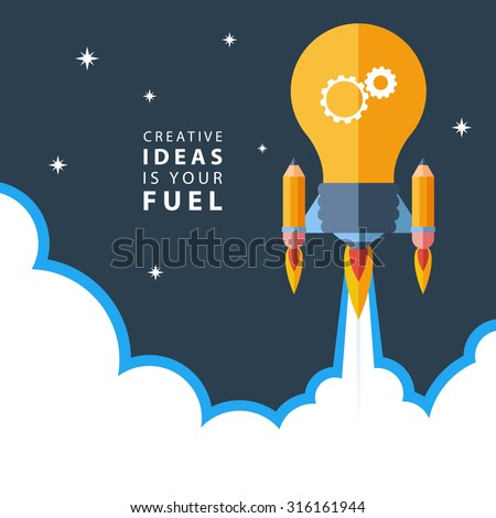 Creative ideas is your fuel. Flat design colorful vector illustration concept for creativity, big idea, creative work, starting new project. - stock vector