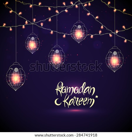 Creative illuminated hanging Arabic lanterns with glowing lights on purple background, Elegant greeting or invitation card for Islamic holy month, Ramadan Kareem celebration. - stock vector