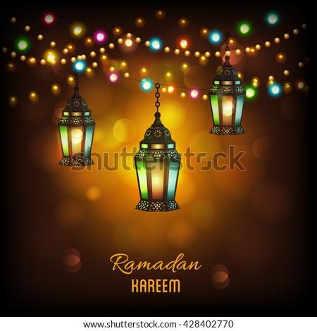 Creative illuminated hanging Arabic lanterns with glowing lights on shiny background, Elegant greeting or invitation card for Islamic holy month, Ramadan Kareem celebration. - stock vector