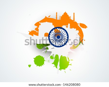 Creative Illustration for Indian Independence Day with tricolors. - stock vector