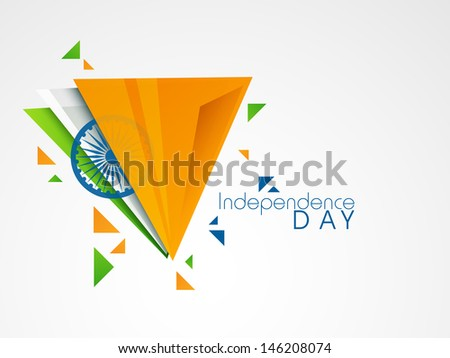 Creative Illustration for Indian Independence Day with tricolors and ashoka wheel. - stock vector