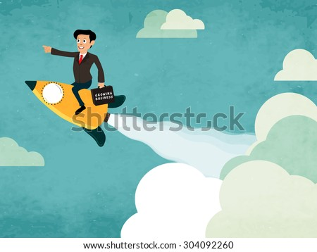 Creative illustration of a businessman flying on rocket and holding growing business bag for start up. - stock vector