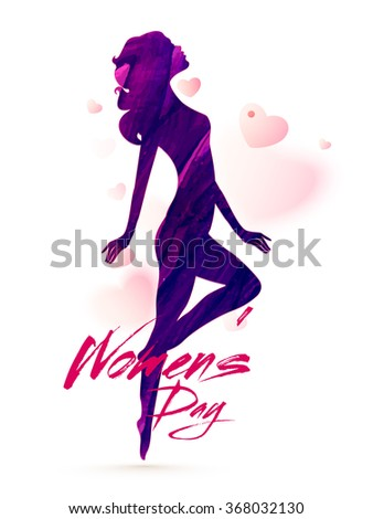 Creative illustration of a young girl in stylish pose on hearts decorated background for Happy Women's Day celebration. - stock vector