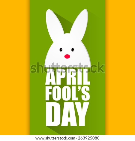 Creative illustration of April Fool's Day with bunny's face on it in a beautiful orange colour background with green strip. - stock vector