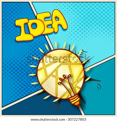 Creative illustration of bulb for Idea concept on vintage background.