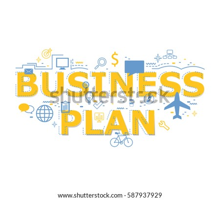 creative illustration business plan word lettering stock vector