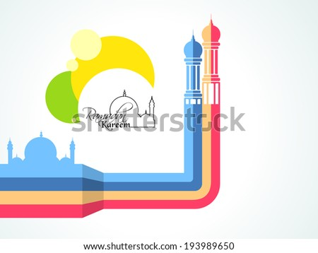 Creative illustration of colourful mosque for holy month of muslim community Ramadan Kareem. Stylish poster, banner or flyer design.  - stock vector
