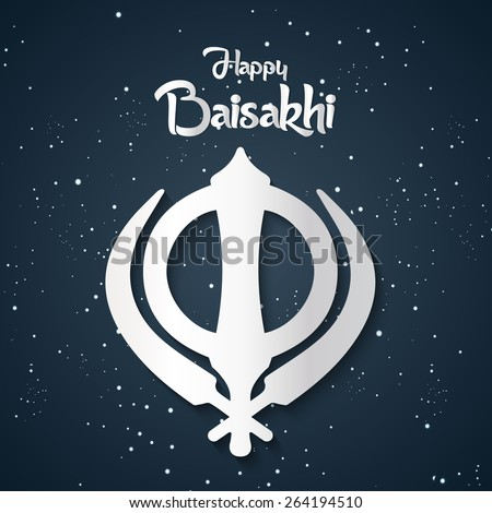 Creative illustration of Happy Baisakhi in a nice sparkling black colour in background.  - stock vector