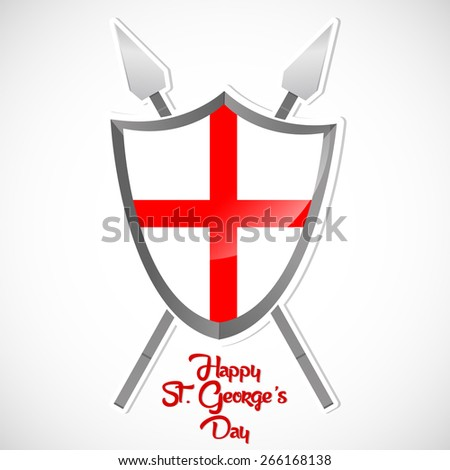 Creative illustration of Happy St. George's Day with England Flag in a shield in a creative white color beautiful background. - stock vector