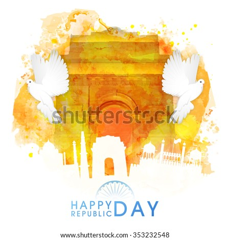 Creative illustration of India Gate made by colour splash with flying pigeons and other monuments for Indian Republic Day celebration. - stock vector