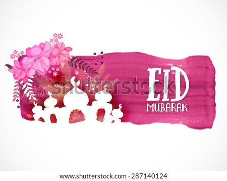 Creative illustration of Mosque on paint stroke with pink flowers on white background for muslim community festival, Eid Mubarak celebration. - stock vector