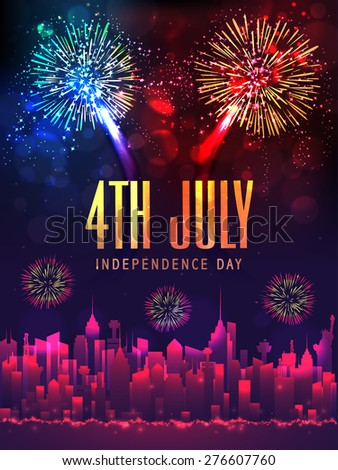 Creative illustration of shiny text 4th July, city view and sparkling fireworks for American Independence Day celebration. - stock vector