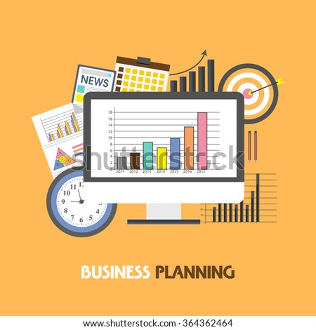 Creative illustration of statistical graph on desktop with various infographic elements for Business Planning concept. - stock vector