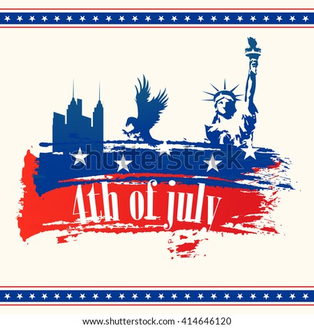 Creative illustration of Statue of Liberty, American National Bird Eagle and City View in Flag colors, Elegant greeting card for 4th of July, Independence Day celebration.