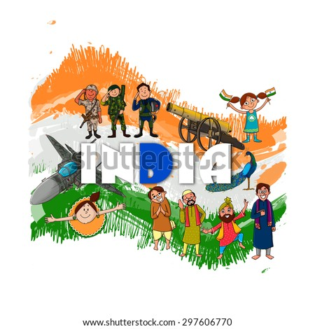 Creative illustration showing Indian culture, tradition and strength on national flag color background for Independence Day celebration. - stock vector