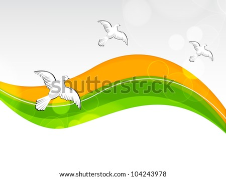 Creative Indian flag color background with wave for Independence Day, Republic Day and other occasion. Vector Illustration .EPS10. - stock vector