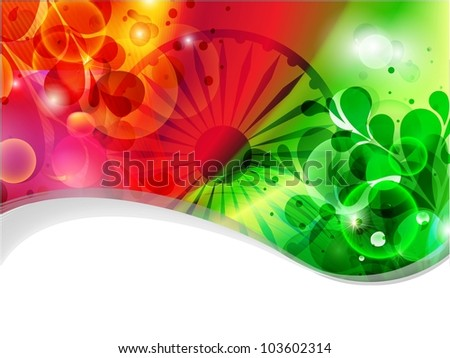 Creative Indian flag color background with wave, shine and floral for Independence Day, Republic Day and other occasion. Vector Illustration .EPS10.. - stock vector