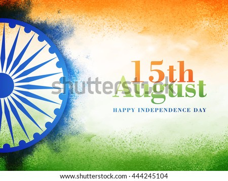 Creative Indian National Flag colour background with Ashoka Wheel, Elegant Poster, Banner or Flyer design for 15th August, Happy Independence Day celebration.