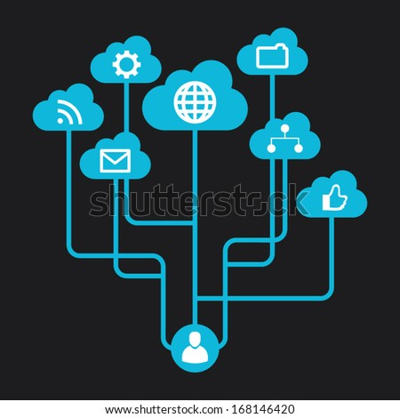 Creative info graphic with social network and end user. Social media data summary. Vector illustration - stock vector