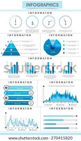 Creative infographic bars, pie charts, arrows and graphs for business data and professional reports presentation. - stock vector