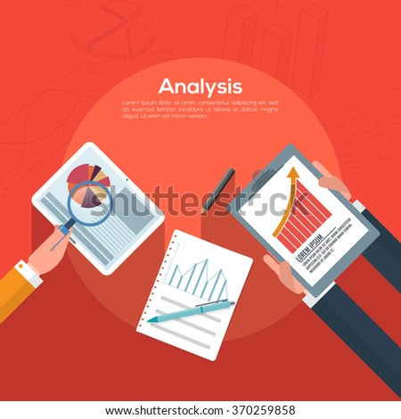 Creative Infographic layout with illustration of peoples analyzing professional graphs for Business progress concept. - stock vector