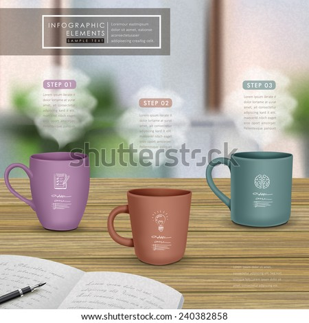 creative infographic template design with mugs on wooden table - stock vector