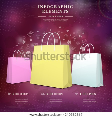 creative infographic template design with shopping bags element