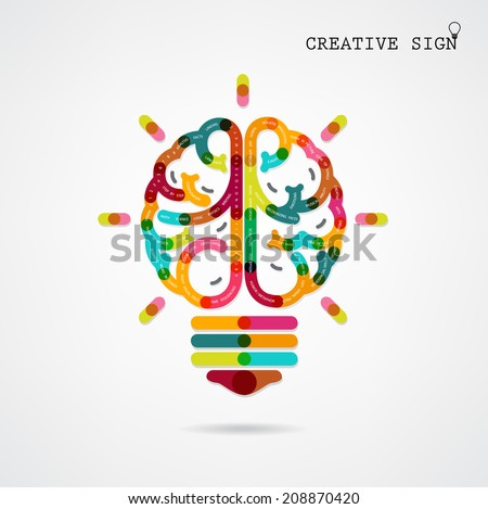 Creative infographics left and right brain function ideas on background,design for poster,flyer,cover, brochure,diagram or presentation template,education concept ,business idea.Vector illustration - stock vector