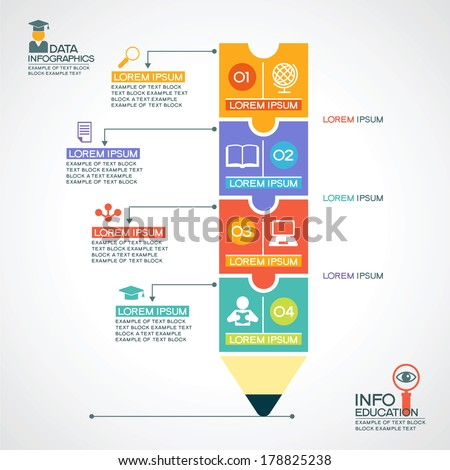 Infographic Ideas infographic template education : Creative Infographics Template Pencil Puzzle Education Stock ...