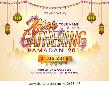 Creative Invitation Card design with Golden Text Iftar Gathering on Mosque silhouetted background for Holy Month of Muslim Community, Ramadan Kareem celebration.