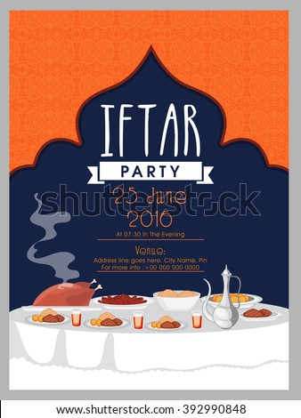 Creative invitation card design illustration delicious stock creative invitation card design with illustration of delicious dishes for iftar party celebration stopboris Images