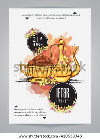 Creative Invitation Card design with illustration of Sweet Dates and Traditional Jug for Islamic Holy Month, Ramadan Kareem, Iftar Party celebration. - stock vector