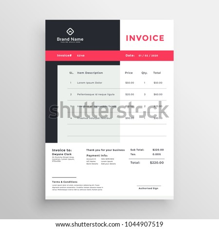 Creative Invoice Template Design Your Business Stock Vector Hd