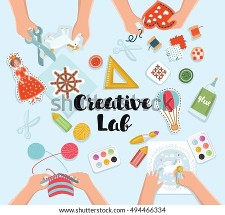 creative kids lab top view table with creative kids hands cutting paper painting - Pictures Of Kids Painting