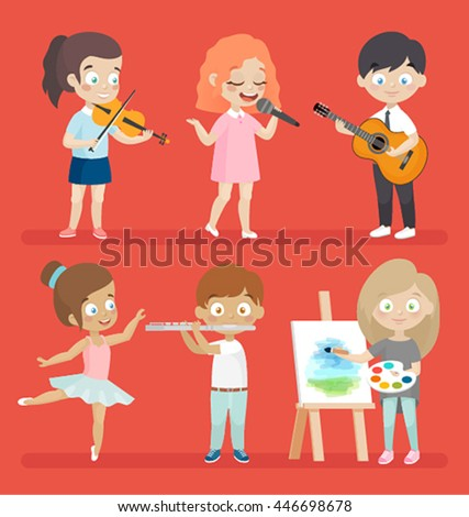 Creative kids playing musical instruments, dancing, painting, playing and singing. - stock vector