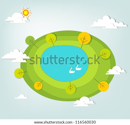 creative landscape with a lake - stock vector