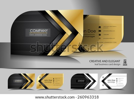 Creative leaf business card design - stock vector