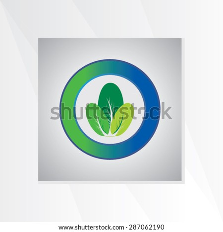 creative leaf inside of circle vector illustration - stock vector