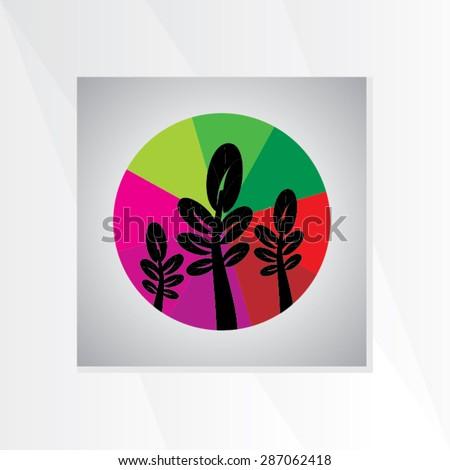 creative leaf inside of colorful wheelvector illustration - stock vector