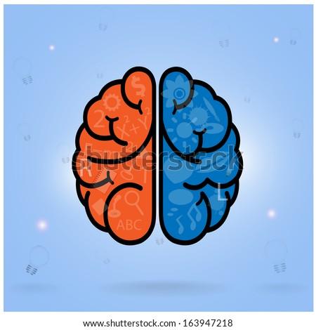 Creative left brain and right brain Idea concept .vector illustration  - stock vector