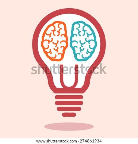 Creative left brain and right brain vector. Creative left brain and right brain Idea concept background .vector illustration - stock vector