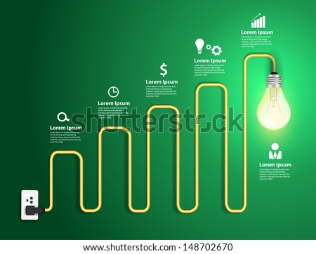 Creative light bulb abstract charts and graphs modern design template workflow layout, diagram, step up options, Vector illustration template design   - stock vector