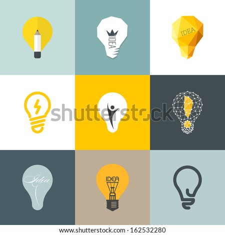 Creative light bulb. Collection of design elements - stock vector