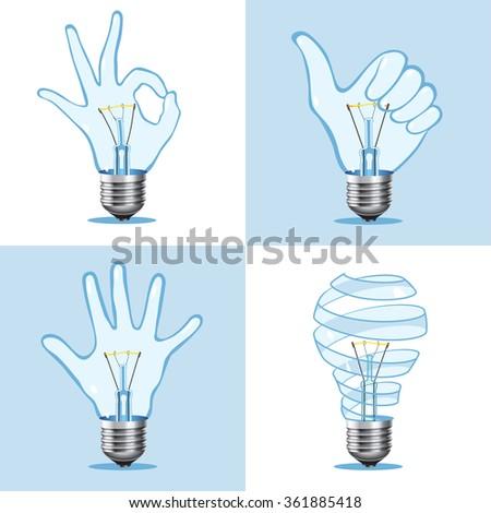 Creative light bulb collection. Ok hand sign lamps, kid hand bulb, spiral glass lightbulb. Vector illustration. - stock vector