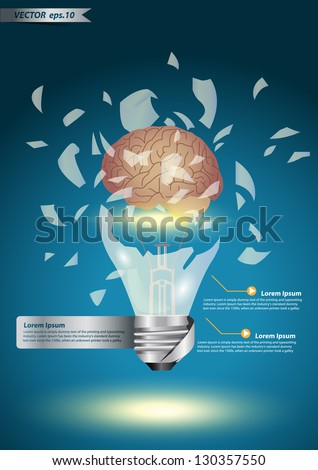 Creative light bulb explode With brain power concept idea , Vector illustration Modern Design template - stock vector