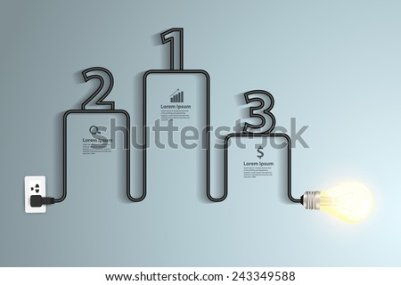 Creative light bulb idea abstract infographic, Inspiration concept modern design template workflow layout, diagram, numbers step up options banner, Vector illustration - stock vector