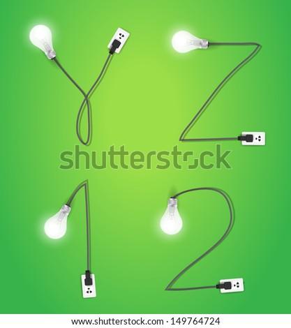 Creative light bulb idea alphabet number design, Vector illustration modern template ( y z 1 2 ) - stock vector